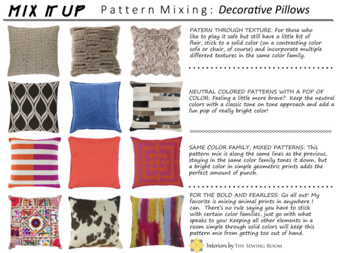 Interiors By The Sewing Room How To Mix Patterns With Decorative Custom Decorative Pillow Combinations