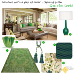 Living Room Design Board: Neutrals with a Pop of Spring Green