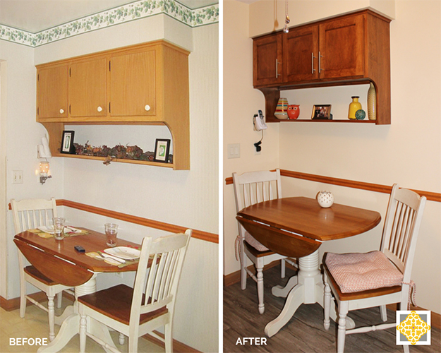 Before & After Breakfast Nook - Kitchen Remodel on a Budget - Interiors by The Sewing Room