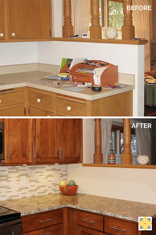 Before & After View Towards Dining Room - Kitchen Remodel on a Budget - Interiors by The Sewing Room