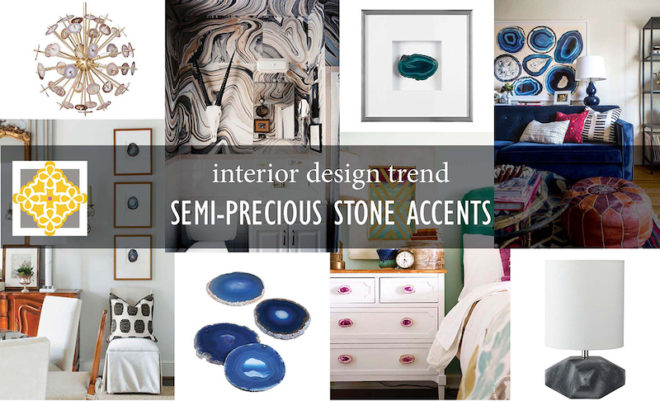 Interior design trend being semi-precious stones in wall decor, knobs on furniture, lighting fistures, wall designs, pillow designs and more