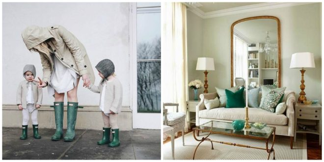 Mom and 2 kids in green rainboots next to a room with green accents