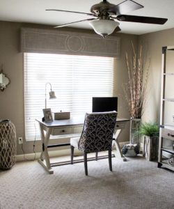 Home Office Window Treatments using cornice that creates a powerful layering effect